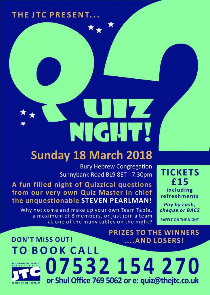 Quiz Night Sunday 18 March 2018